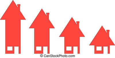 Houses with arrow moving down