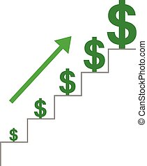 Stairs with dollars and arrow moving up - Vector grey stairs...