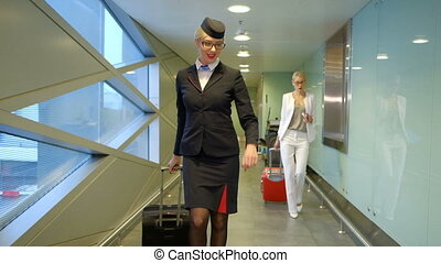 Stewardess comes with a suitcase on the airport and smiles broadly.
