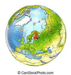 Finland in red on full Earth - Finland highlighted in red on...