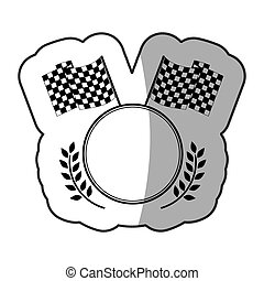 sticker emblem monochrome circle with flags and olive...