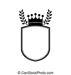 monochrome shield with crown and olive branchs vector...