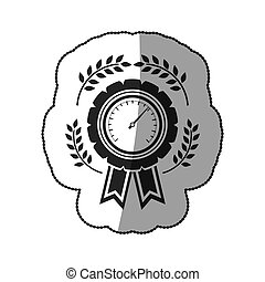 sticker in monochrome medal speedometer with half shaded and...
