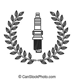 silhouette spark plug award in monochrome with olive crown