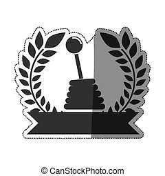 sticker gearshift prize in monochrome with olive branch and...