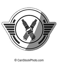 sticker spark plug award in monochrome with half shaded...