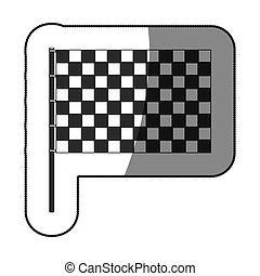 sticker monochrome with racing flag vector illustration