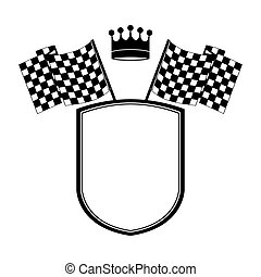 monochrome shield with crown and racing flags vector...