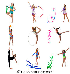 Set collection of junior gymnast girl on white - Set...