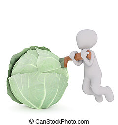 Little man cutting cabbage - Faceless cartoon 3D man hanging...