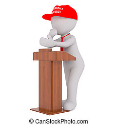 3D man in Donald Trump red cap - Figure of faceless 3D man...