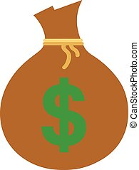 Money sack with dollar - Vector brown money sack with green...