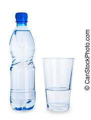 small blue bottle and glass with water isolated
