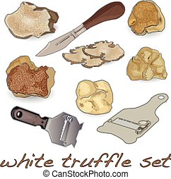 White truffle set isolated white background