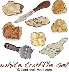 White truffle set isolated white background