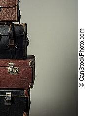 viejo, forma, maletas, Plano de fondo, torre, Pila
