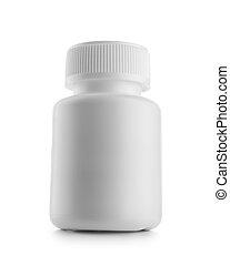 white medical bottle isolated