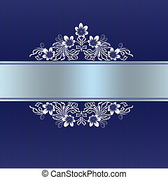 Elegant blue border with white floral ornament for wedding...