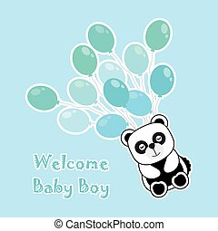 Baby shower card with baby panda brings blue balloons...