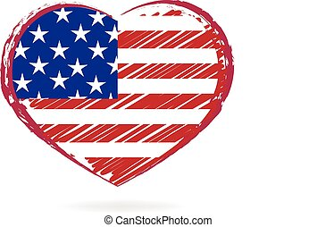 USA retro flag heart logo
