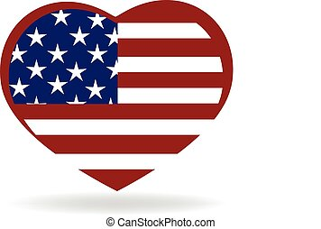 Flag USA logo - Heart love USA flag emblem icon