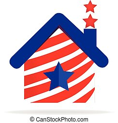 Patriotic house logo - House american USA flag logo vector...