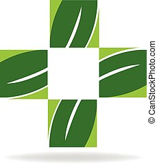 Health green nature cross logo - Alternative health medicine...