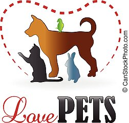 Logo heart love pets - Pets cat dog rabbit and parrot....