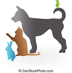 Pets logo - Pets cat dog rabbit and parrot. Vector icon...