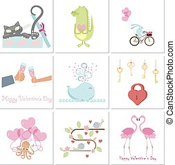 Set of Valentines day banners with cute animals, love and...