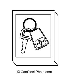 silhouette rectangle button with keys and keychain vector...