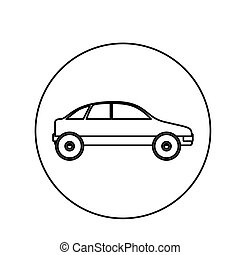 silhouette circular shape with vehicle vector illustration