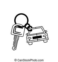 silhouette car shaped key chain icon