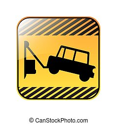 road sign square with tow truck