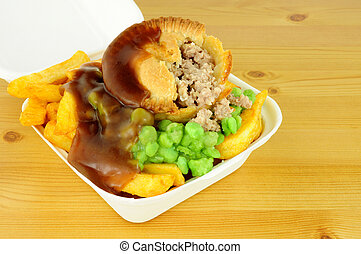 Meat Pie And Chips In Take Away Box - Meat pie and chips...