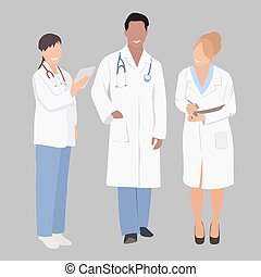 A group of medical  professionals. Vector illustration of three members of a medical team. A medical team of doctors or surgeons with white coats and stethoscopes. Doctor in full growth.