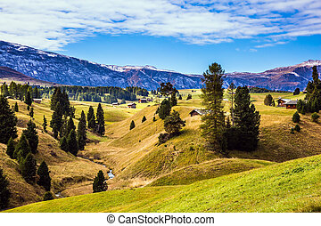 Well-known Alps di Siusi mountain valley - Well-known...