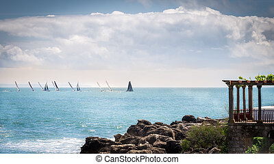Sailboat competition in the city of Cascais.