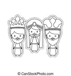 dotted sticker the three wise men vector illustration