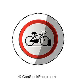 dotted sticker with bicycle and parking area