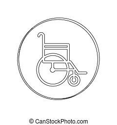silhouette circular contour sign wheelchair vector...