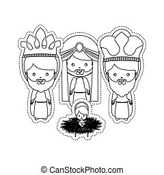 dotted sticker the three wise men with jesus baby
