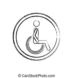 silhouette blurred with person sitting wheelchair vector...