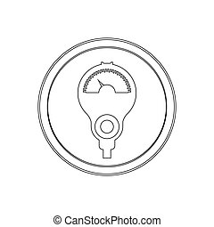 silhouette circular shape with parking meter icon flat