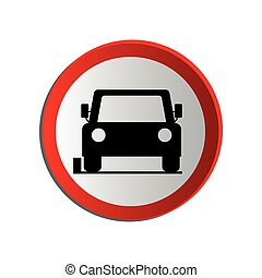 circular contour road sign of car parking area