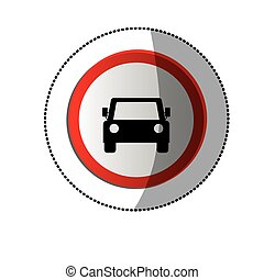 dotted sticker with road sign of car crossing