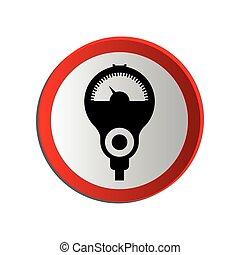 circular contour road sign with parking meter