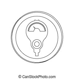 silhouette circular shape with parking meter
