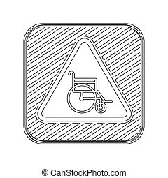 silhouette button road sign with wheelchair vector...