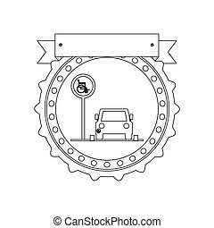 silhouette circular seal with disabled park area with label...